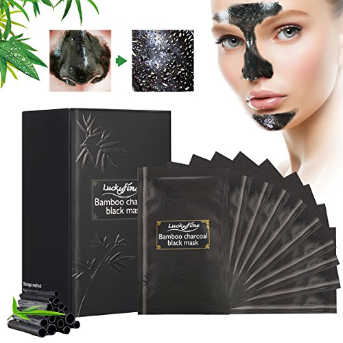 Mascarilla Negra Para Puntos Negro, Luckyfine Mascarilla de Carbon, Black Mask Peel Off, Mascara Limpieza Facial Profunda, Mascara Crema Quita Espinillas (10 Pcs)