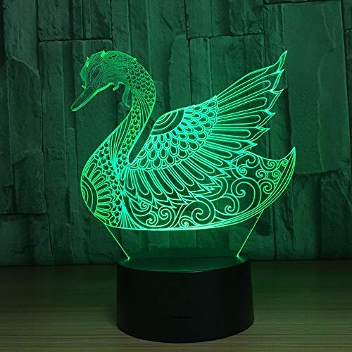 orangeww Tischlampe 7 Farbe Ersatz 3d Nachtlicht Wohnzimmer Dekoration Touch Schlafen Nachtlicht/Weihnachtsgeschenk/Home Decoration Swan