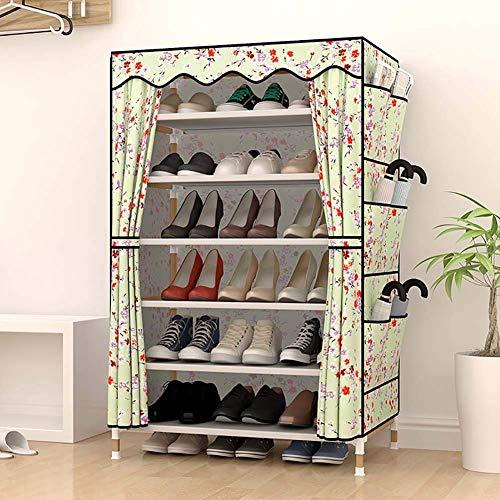 Wghz Shoe Rack_6 Tiers 20 Pairs Holz Schuhregal Mit Staubschutz Platzsparend Schuhablage Veranstalter Kleiderschrank Schuhschrank Tragbar Einfacher Schrank Cartoon Muster - Holz Schrank Veranstalter