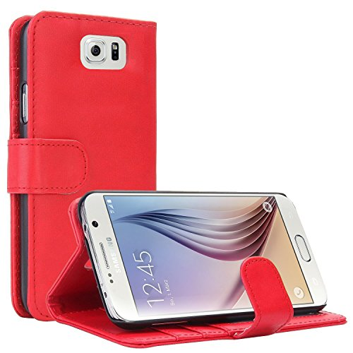 Samsung Galaxy S6 Hülle, EnGive Ledertasche Schutzhülle Case Tasche mit Standfunktion und Karte Halter Rot