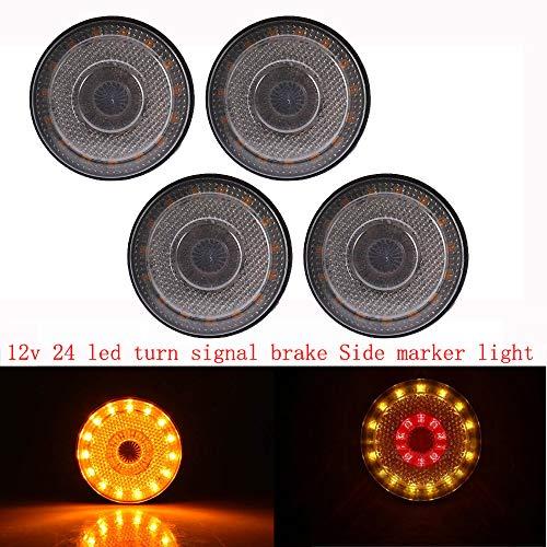 """Ricoy 4 Stücke 2,3 \""""24 LED 12 V Runde seitenmarkierungs Blinker Bremse Flash Warnung Gelb & Rot Licht (rauch)"""