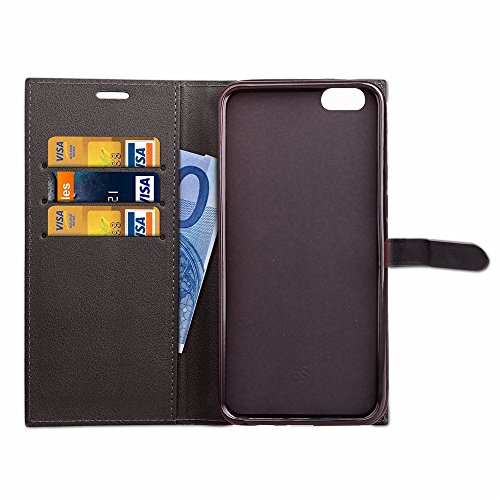 JIALUN-Telefon Fall Ultra Thin Leight Gewicht PU Ledertasche Business Style Brieftasche Stand Case Retro Folio Tasche mit Gürtelschnalle & Card Slots für iPhone 6 Plus & 6s Plus ( Color : Rose ) Black