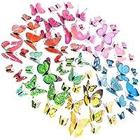 Yarnow 60 Piezas Pegatinas de Pared de Mariposa Calcomanías de Pared Decoración de Mariposas 3D Pegatinas de Arte de Pared Pegatinas Murales Extraíbles para Oficina Habitación de Niños Habitación