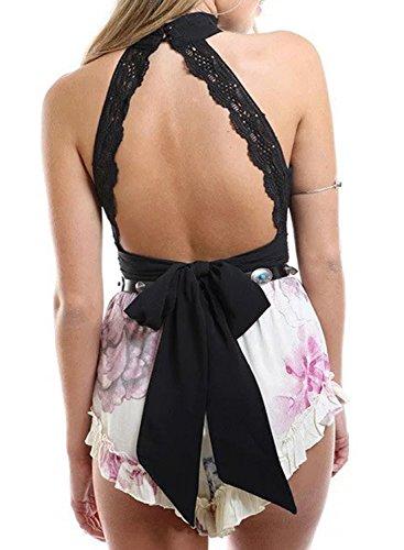 ACHICGIRL Women's High Neck Sleeveless Backless Tie Back Crop Top Black