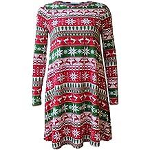 Oops Outlet - Vestidos para mujer, diseño árbol de Navidad, Papá Noel, muñeco