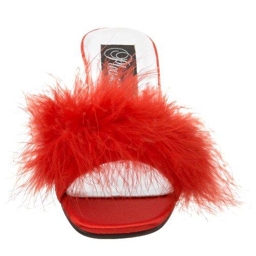 Fabulicious ROMANCE-301F Red Satin-Fur