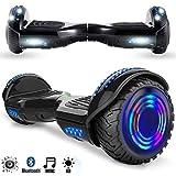 Magic Vida Skateboard Électrique 6.5 Pouces Bluetooth Puissance 700W avec Pneu à LED Gyropode Auto-Équilibrage de Bonne qualité pour Enfants et Adultes(S-Noir