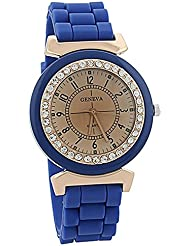 Reloj - Geneva Silicona Piedra de Cristal Cuarzo Reloj de pulsera de mujer (Azul oscuro)