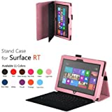 CaseGuru Premium Luxury Multi Function Standby Case/Cover/Folio for the Microsoft Surface RT 10.6 Inch Tablet Light Pink and Free Stylus Pen