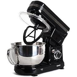 Duronic SM100 BK Robot pâtissier de cuisine / Batteur sur socle compact avec batteur / mélangeur / pétrisseur - Bol en inox de 4 litres et couvercle idéal pour pains, brioches, pâtisserie, crêpes