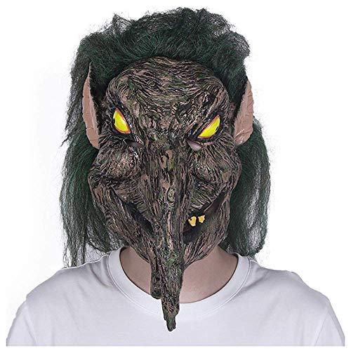 or Maske Grimasse Erwachsene dekorative Latex Kopfbedeckung männliche grüne Haare Hexe Scary Party Maske (Color : Brown) ()