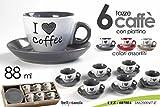 SET 6 TAZZE CAFFE' CON PIATTINO I LOVE COFFEE COLORI ASSORTITI 88 ML SERVIZIO CAFFE'