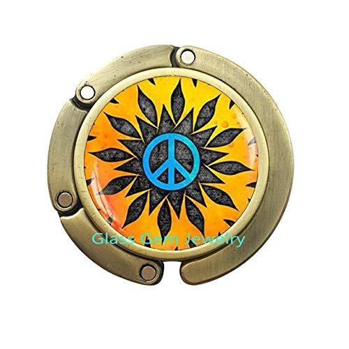 Q0107 Hippie Geldbörse Haken, Hippie Taschenhaken, Hippie Schmuck, Peace-Zeichen, Geldbeutelhaken, Peace-Schmuck, Peace-Taschenhaken - Peace-zeichen-geldbörse