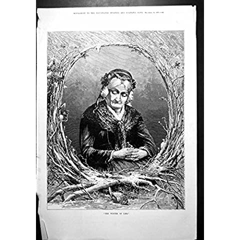 Impresión Antigua de las Ramas Mayores 1879 de Señora Contemplating Dead Bird Nevado de la Vida del Invierno