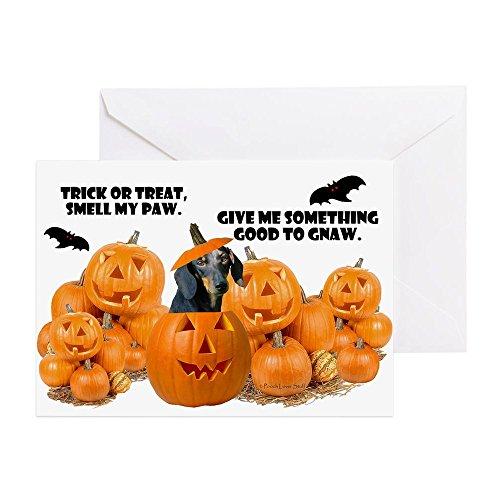 CafePress – Dackel Halloween (Schwarz & Tan) – Grußkarte, Notizkarte, Geburtstagskarte, blanko Innenseite glänzend