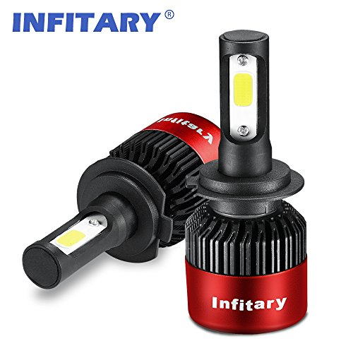 Lampadine per fari a LED H4 / H7 Faro Hi / Lo a fascio automatico, Luce a doppio fascio luminoso, 72W 6500K 8000LM Kit di conversione di chip COB estremamente eccellente per auto- 1 paio-H7R