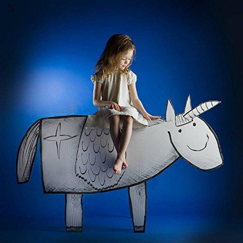 """Kunstdruck / Poster: Eva Miliuniene """"Girl and her unicorn"""" - hochwertiger Druck, Bild, Kunstposter, 100x100 cm"""