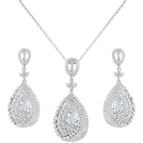 EVER FAITH®I lotti di cristallo nuziale silver-tone zircone austriaco Leaf Teardrop gioielli insieme (Teardrop Nuziale Degli Orecchini Della Collana Di Cristallo)