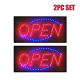 Ardisle 2 Pack Bright Flashing LED Neon Shop Door Window Double Shop Front Signs Business Display 2 Colour Blue Red Open Sign Hanging Light Takeaway Resturaunt Fast Food Retail Store illuminated Florescent Hanging Animated Motion Board Welcome Signage