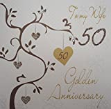 WHITE COTTON CARDS 'To My Wife Golden Anniversary Handmade 50th Anniversary Card