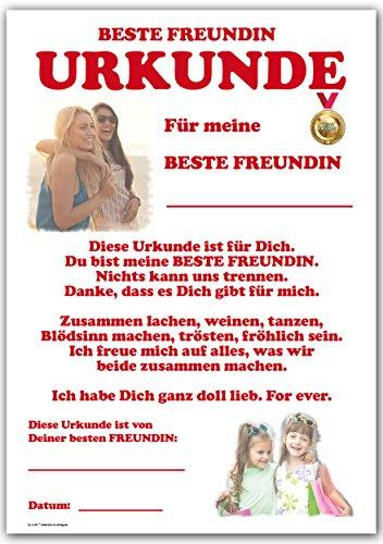 Urkunde - Beste Freundin – Danke und Lob von Freundin für Freundin
