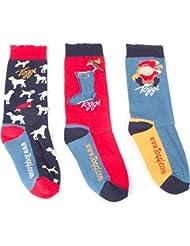 Toggi Niños Addison calcetines (paquete de 3), azul/rojo, tamaño 10–3