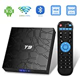 Android TV Box 9.0,2019 T9 Android Box 4GB RAM 32GB ROM RK3318 Quad Core/2.4GHz/5.0Ghz wifi/64 bits / BT4.0 / H.265 / 3D UHD 4K Smart TV Box