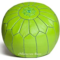"""Moroccan Buzz premium leder pouf ottoman abdeckung 13.5"""" hoch x 20"""" lime green preisvergleich bei kinderzimmerdekopreise.eu"""