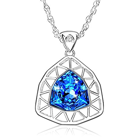 Alantyer Pendant Necklace for Women with Blue Crystal from Swarovski (Aqua Blue)