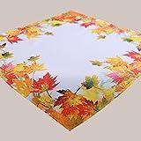 Tischdecke 85 x 85 cm bedruckt Herbstlaub Herbstmotiv Mitteldecke orange bunt