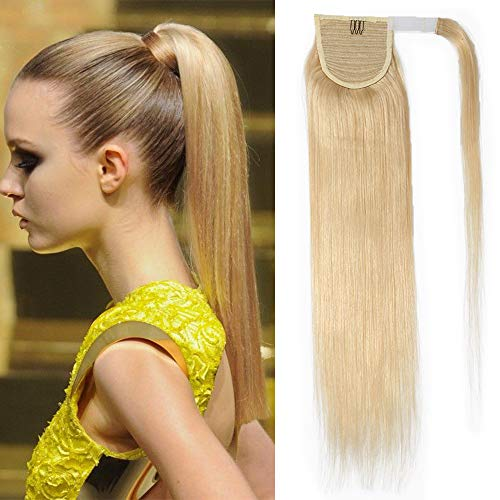 "TESS Pferdeschwanz Extensions Echthaar Ponytail Haarteil Clip in Extensions Echthaar Zopf Remy Haarverlängerung günstig 20""(50cm)-95g #613 Blond"