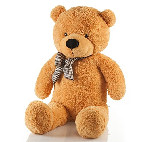 VERCART Riesen Teddybär XXL Kuschelbär 120 cm groß Plüschbär – Teddy Bär mit Schleife Hellbraun
