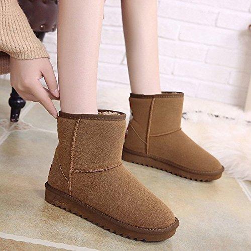 HSXZ Scarpe da donna in pelle Nubuck Winter Snow Boots stivali tacco piatto rotondo Mid-Calf Toe stivali per Casual marrone nero Brown