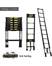 EQUAL Telescoping Ladder Aluminum Telescopic Extension Multi Purpose Ladder w/Tools Bag Organiser - Black (12.5 Ft)