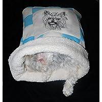 LunaChild Hunde Kuschelhöhle Yorkshire Terrier türkis creme 1 Hundebett Name Snuggle Bag Wunschname Größe S M oder L in 14 Farben erhältlich