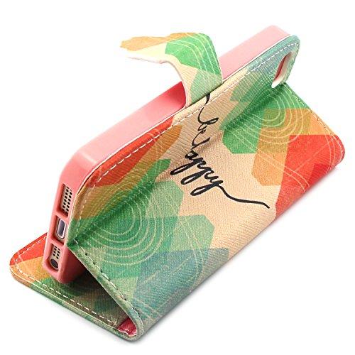 MOONCASE iPhone SE Coque Portefeuille [Porte-cartes] Modèle Case Housse en Cuir Etui à rabat avec Béquille pour iPhone 5 / 5S / iPhone SE -YX11 YX08