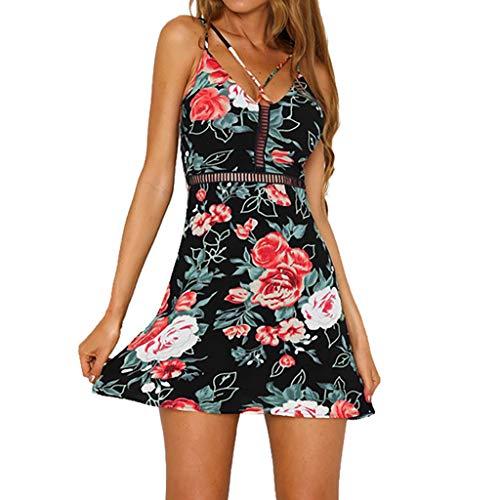 e Pas Cher A La Mode Sexy Longue Sling Sans Manches Chic DOS Ouvert Imprimé Col En V Sangle Les Loisirs Robe De Soiree Tops Camisole Chemise(S,Noir) ()