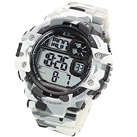 [LAD WEATHER] Dual-Zeit/100m Wasserdicht/Stoppuhr/Pacer-Funktion/ Digitales Display/Militäruhr/Camouflage