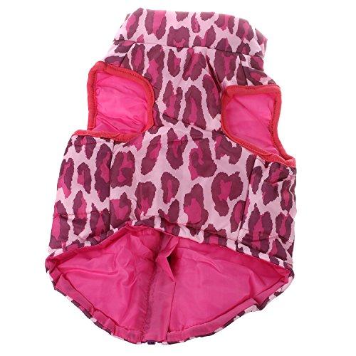 Kleidung - SODIAL(R)Kleidung fuer die Winterbettdecke Hund Katze Warm Padded Jacket Harness, rote Rose XS