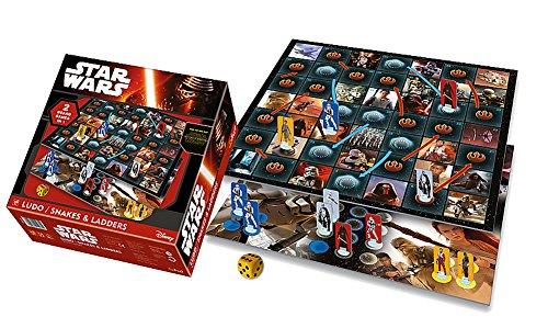 Brigamo 87310 – Star Wars 7 das Erwachen der Macht Brettspiel, 2in1 Gesellschaftsspiel Ludo + Schlangen & Leitern - 3