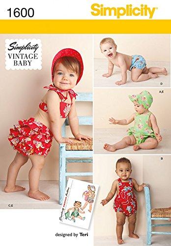 (Simplicity Baby & Kleinkind Schnittmuster 1600Vintage Stil Strampler, Bikini, Slip & Motorhaube)