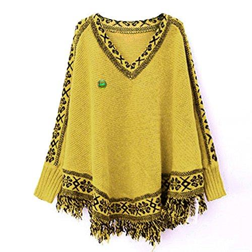LOCOMO Tops (Luxury) - Poncho - Femme FFJ070 Yellow Jacquard