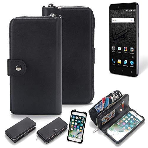 K-S-Trade 2in1 Handyhülle für Allview V2 Viper XE Schutzhülle & Portemonnee Schutzhülle Tasche Handytasche Case Etui Geldbörse Wallet Bookstyle Hülle schwarz (1x)