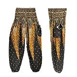 Damen Yoga Leggings, SHOBDW Männer Frauen Thai Harem Hosen Boho Festival Hippie Kittel Hohe Taille Yoga Hosen (One Size, Schwarz)