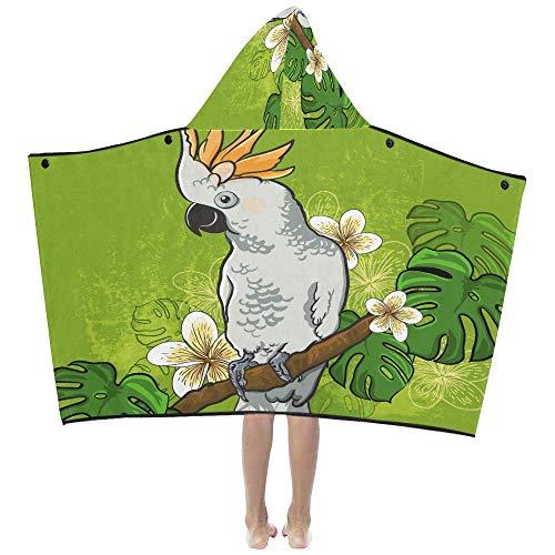 Decke Kids Cockatoo Parrot auf einem Ast mit Blumen 48960221 Kids Hooded Blanket Badetücher Throw Wrap für Kleinkind Kind Mädchen Junge Home Travel Schlaf Decke Hoodie Kids -