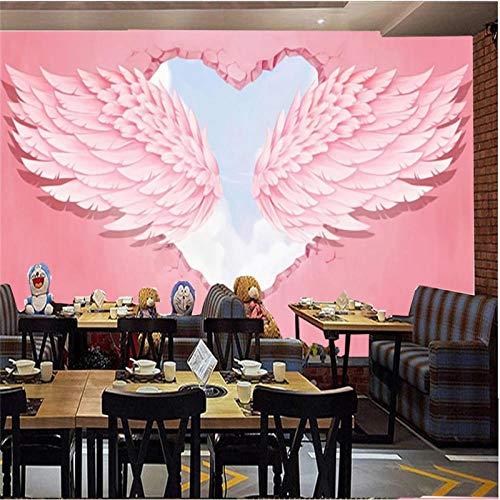 Moderne Mode Ins 3D Rosa Herz Engelsflügel Industriedekor Fototapete Hot Online Suche Red Cafe Dessert Shop Wallpaper 3D 350x256cm
