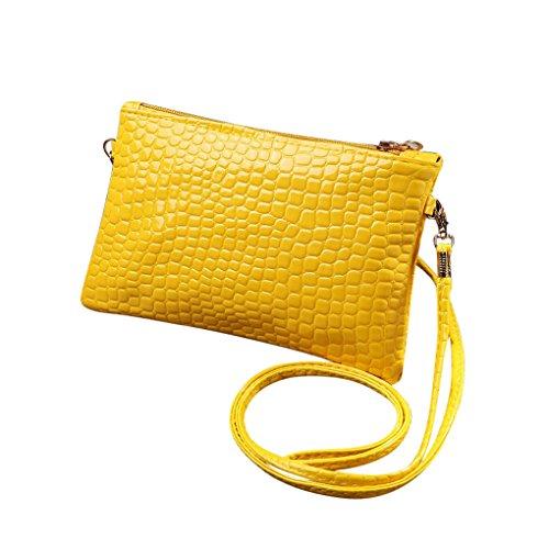 Damen Taschen JYJM Modische Zipper PU Mini Clutch Mädchen Geldbörse Vintage Leder Krokodil Muster Mini Handtasche Wallet Card Package (Größe: 19,5 cm (L) * 3 cm (W) * 11,5 cm (H) / 7,68, Gelb)