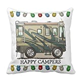 COCO-La Cute RV Vintage Popup Camper Travel Trailer Throw Pillow Case Square Soft Polyester Cushion Cover for Sofa 18 ×18 inch
