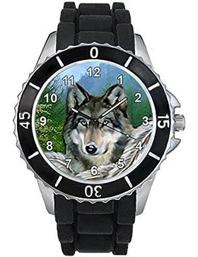 Indianischer Wolf Motiv Uhr Unisex mit Silikonband