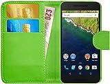 G-Shield Hülle für Google Nexus 6P Klapphülle mit Kartenfach - Grün